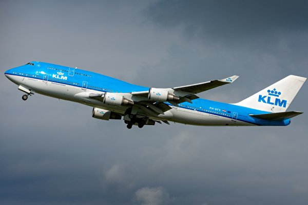 600x400、飛行機、旅客機、ボーイング、KLM 747-400M、、航空、