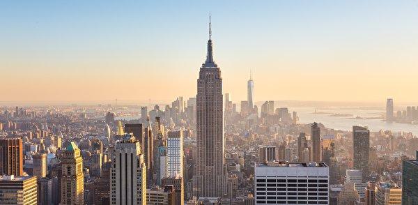 Papel de Parede Desktop EUA Arranha-céus Manhã Nova Iorque Megalópolis Cidades