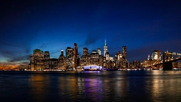 Papel de Parede Desktop Edifício Estados Unidos Noite Manhattan Nova Iorque