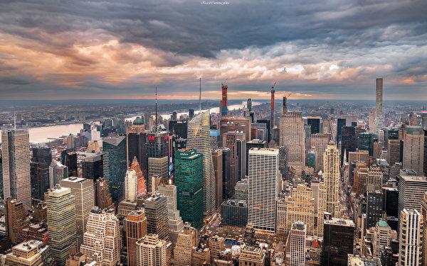 Papel de Parede Desktop EUA Edifício Arranha-céus Nova Iorque Nuvem De acima