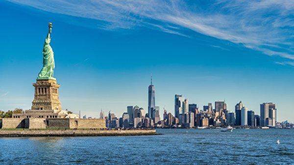 Papel de Parede Desktop EUA Ilha Arranha-céus Estátua da Liberdade Manhattan Nova Iorque island Freedom, Upper new York Bay Cidades