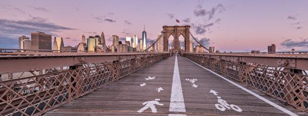 Papel de Parede Desktop Estados Unidos Pontes Edifício Panorama Nova Iorque Brooklyn Bridge