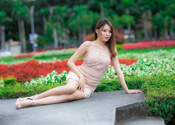 Bakgrunnsbilder Bokeh ung kvinne Asiater Sitter Kjole 600x430 uklar bakgrunn Unge kvinner asiatisk