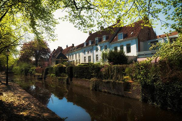 zdjęcia Holandia Amersfoort Kanał wodny Domy Drzewa Miasta 600x400 miasto budynki budynek