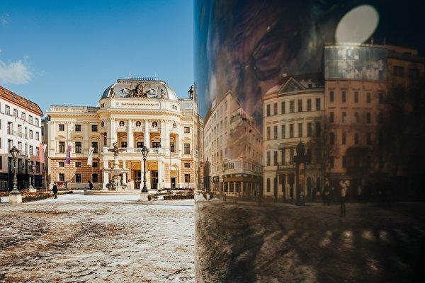 Wallpaper Slovakia Town square National Theatre Slovakia, Bratislava reflected Street lights Cities 600x400 Reflection