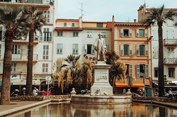 Desktop Wallpapers France Monuments Cannes, Lord Brougham Pond Palms Cities 600x398 palm trees