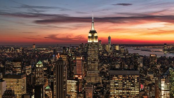 Papel de Parede Desktop Estados Unidos Tarde Casa Arranha-céus Nova Iorque Manhattan