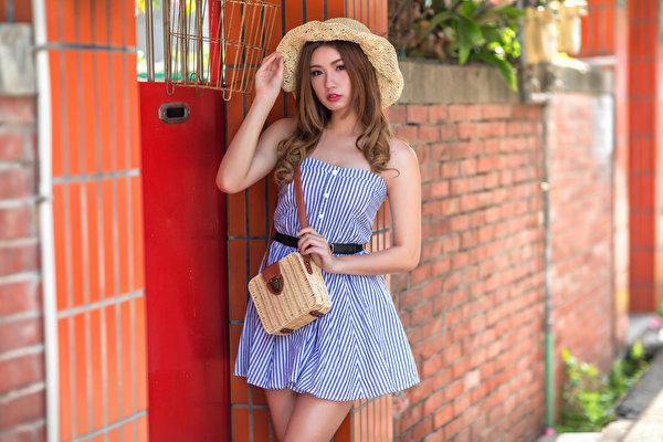 Foto Bokeh posiert Der Hut Mädchens Asiatische Handtasche Starren Kleid 600x400 unscharfer Hintergrund Pose junge frau junge Frauen Asiaten asiatisches Blick