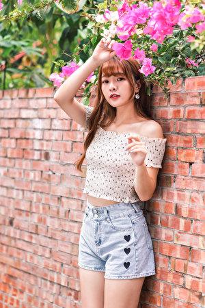 Fotos Bluse junge frau asiatisches Hand Shorts Blick 300x450 für Handy Mädchens junge Frauen Asiaten Asiatische Starren