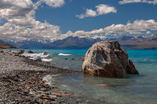 Foto Neuseeland Lake Pukaki Natur Gebirge See Steine Wolke 600x399 Berg Stein