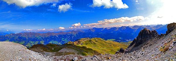 Bilder von Alpen Schweiz Panorama Natur Gebirge Himmel Wolke 600x210 Panoramafotografie Berg