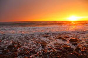 Fotos Meer Steine Sonnenaufgänge und Sonnenuntergänge Horizont Sonne Natur