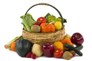 Pictures Vegetables Wicker basket Food