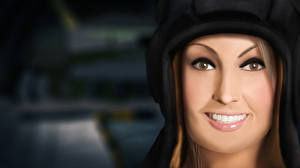 Pictures World of Tanks Face Glance Teeth 3D Graphics Girls