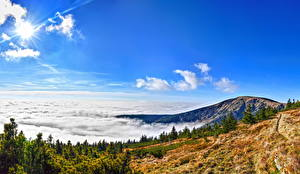 Image Park Czech Republic Mountains Sky Landscape photography Clouds HDR Krkonose Nature