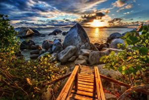 Fotos Küste Steine Meer Sonnenaufgänge und Sonnenuntergänge Spanien Ast Blattwerk HDR Wolke Caribbean Natur