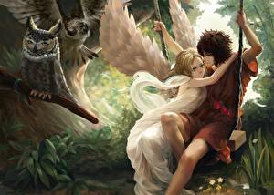 Fonds d'écran Amour Anges Couples dans l'amour Adolescent Fantasy Filles