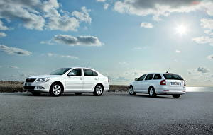 Pictures Skoda Sky White Side Clouds 2009 Octavia Greenline Cars