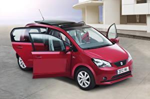 Fotos Seat Bordeauxrot Auto Scheinwerfer Offene Tür 2012 Mii 5-door auto