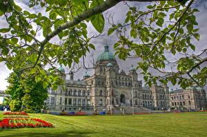 Bilder Kanada Rasen Gras Ast Blattwerk HDRI Victoria Parliament Städte