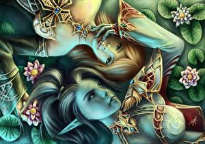 Fonds d'écran Amour Elfes L2 Visage Cheveux Fantasy Filles Jeux