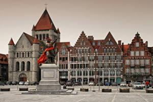 Hintergrundbilder Belgien Denkmal Gebäude Straße Tournai Städte