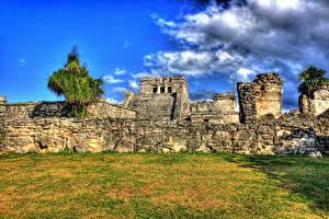 Hintergrundbilder Ruinen Mexiko Gras HDR Mayan Tulum Städte