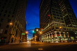 Bilder USA Straße Haus Michigan Nacht Straße HDR Detroit
