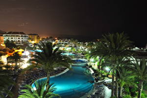 Desktop wallpapers Spa town Spain Swimming bath Night time Palms Canary Islands Tenerife Cities