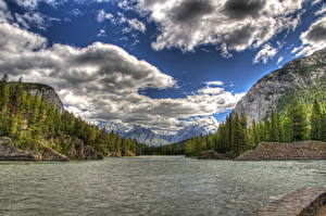 Images Parks Canada Sky Scenery River Clouds HDRI Banff Nature