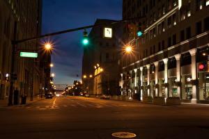 Fotos Vereinigte Staaten Wege Michigan Nacht Stadtstraße Detroit