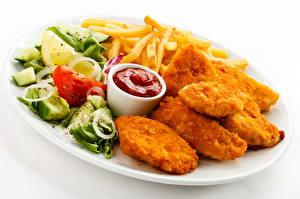 Bilder Fritten Fast food Nuggets Ketchup
