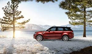 Papel de Parede Desktop Land Rover Vermelho Lateralmente Neve árvores 2014 Range Rover Sport carro