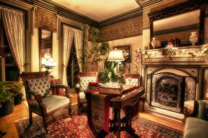 Wallpapers Interior Vintage Chair HDR Room Fireplace Design