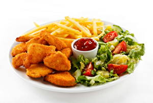 Fotos Fast food Fritten Nuggets Ketchup