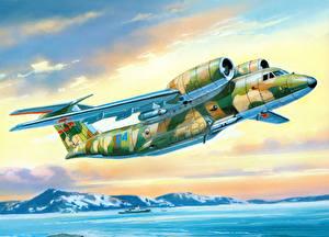 Fotos Flugzeuge Gezeichnet Transportflugzeuge Flug An-72P