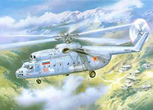 Hintergrundbilder Hubschrauber Gezeichnet Flug Mil Mi-6 Luftfahrt