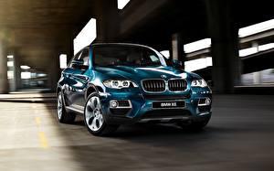 Bureaubladachtergronden BMW Blauw kleur Metallic Vooraanzicht X6 auto's