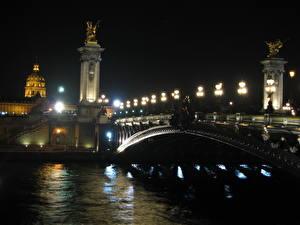 Bakgrunnsbilder Frankrike Broer Elver Elv Natt Gatelykter Paris byen