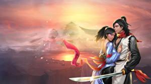 Fonds d'écran Amour Homme Montagnes Couples dans l'amour Sabre Fantasy Filles