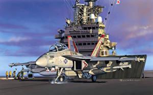 Fotos Flugzeuge Gezeichnet Jagdflugzeug Schiffe Flugzeugträger Boeing Boeing EA-18 Growler Heer