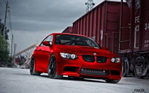 Bureaubladachtergronden BMW Rood Vooraanzicht HDR Auto