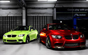 Pictures BMW Red Lime color Front automobile