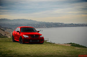 Photo Coast BMW Red Front Grass automobile