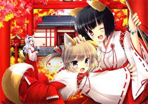 Hintergrundbilder Kitsune 2 Mädchens