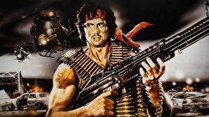 Papel de Parede Desktop Rambo Sylvester Stallone Metralhadora Filme