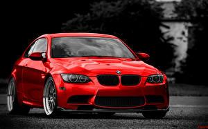 Bureaubladachtergronden BMW Rood Vooraanzicht auto's
