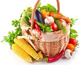 Picture Vegetables Corn Bell pepper Wicker basket Food