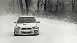 Bilder Subaru Weiß Vorne Schnee Impreza WRX Autos