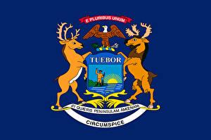 Fotos USA Hirsche Flagge Michigan